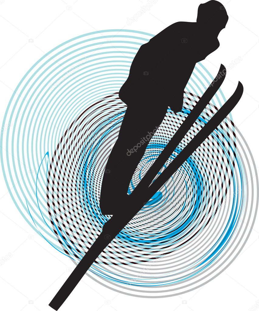 Skiing vector illustration made in adobe illustrator  Stock Vector #8945462