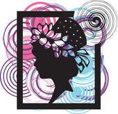 Silhouette of the young woman in a beautiful hat. Vector illustration — Stockvector