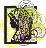 Silhouette of the young woman in a beautiful hat. Vector illustration — Stock Vector
