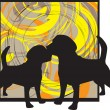 2 Dogs, vector illustration — Stock Vector #9176923