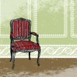 Interior design scene with an armchair. Vector illustration — Stock Vector