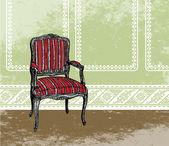 Escena de diseño de interiores con un sillón. ilustración vectorial — Vector de stock