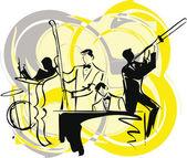 Ilustração de músicos tocam música clássica — Vetor de Stock