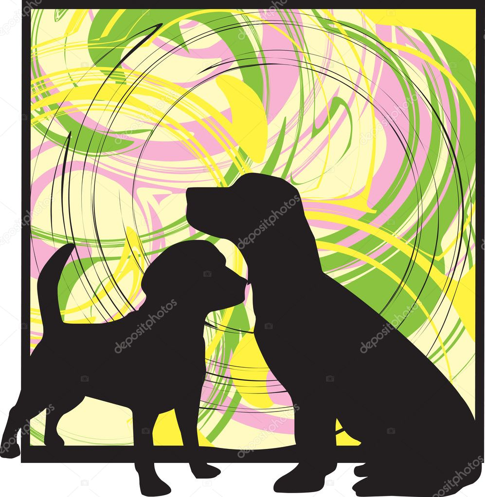 2 Dogs, vector illustration made in adobe illustrator — Stock Vector #9176931