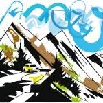 Mountain travel. Vector Illustration — Stock Vector