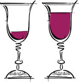Glasses of wine illustration — Stock Vector