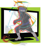 Football game on tv. Vector illustration — Stock Vector
