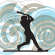 Stockvektor : Baseball player in action. Vector illustration