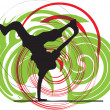 Breakdancer dancing on hand stand silhouette. Vector Illustration — Stockvectorbeeld