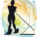 Water skiing woman. vector illustration — Stock Vector
