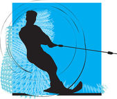водные лыжи человек. векторные иллюстрации — Cтоковый вектор