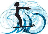Vattenskidor kvinna. vektor illustration — Stockvektor