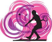 Tennis players. Vector illustration — Stock Vector