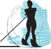 滑水的女人。矢量插画 — 图库矢量图片