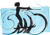 Water skiing woman. vector illustration — Vettoriale Stock
