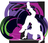 Breakdancer dancing on hand stand silhouette. Vector Illustration — Stock Vector