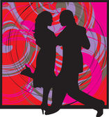 Couple dancing illustration — Stockvector