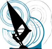 Windsurfing. Vector illustration — Stock Vector