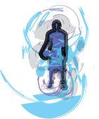 Koszykarz w akcji. ilustracja wektorowa — Wektor stockowy