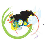 Abstract horses silhouettes. Vector illustration — Stock Vector
