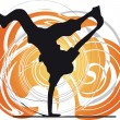 Breakdancer dancing on hand stand silhouette. Vector Illustration — Stockvector #9294838