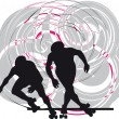 Skater silhouette vector illustration — Imagen vectorial