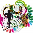 Skiing vector illustration — Stock Vector