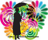 Woman with umbrella. Vector illustration — Stock Vector