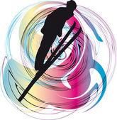 Skiing vector illustration — Stock Vector