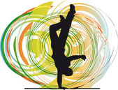 Breakdancer dancing on hand stand silhouette. Vector Illustration — Stockvector