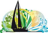 Windsurfing. Vector illustration — Stock Vector