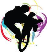 Muž na kole. vektorové ilustrace — Stock vektor