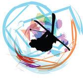 Skiën vectorillustratie — Stockvector