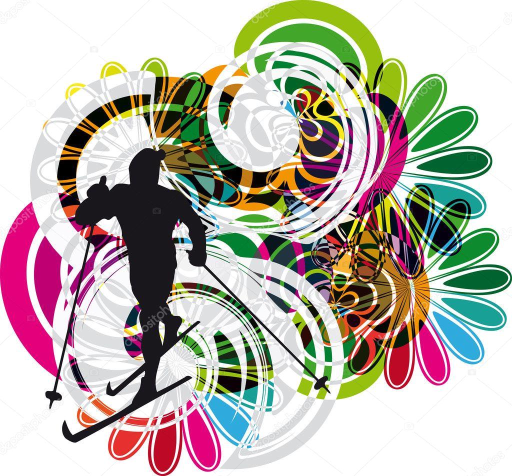 滑雪矢量图 - 图库插图