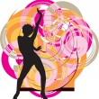 Dancing girl illustration — Stockvectorbeeld