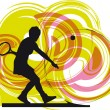 Tennis players. Vector illustration — Stock Vector