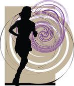 Running vrouw illustratie — Stockvector