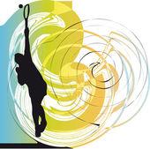 Giocatore di tennis. illustrazione vettoriale — Vettoriale Stock