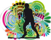 Tennis player. Vector illustration — Stock Vector