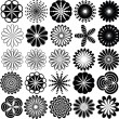 Collection of abstract flowers silhouette - Vettoriali Stock