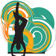 Breakdancer dancing on hand stand silhouette. Vector Illustration — Stok Vektör