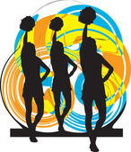 Cheerleaders. Vector illustration — Stock Vector