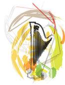 Abstract harp illustration — Stock Vector