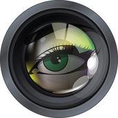 Professional photo lens. Editable vector illustration — Stock Vector