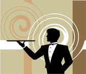 Llustration of Waiter holding an empty tray. Vector illustration — Stock Vector