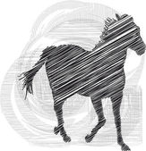 Sketch of abstract horses. Vector illustration — Stock Vector