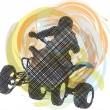 Sketch of Sportsman riding quad bike. Vector illustration — Stock Vector #9521433