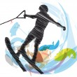 Water skiing man. vector illustration — Stock Vector
