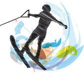 Water skiing man. vector illustration — Wektor stockowy