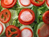 Mixed salad with lettuce, tomato and radish — Stock Photo